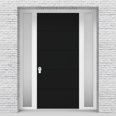 6.single Door With Two Side Panels 4 Horizontal Lines Jet Black (ral9005)