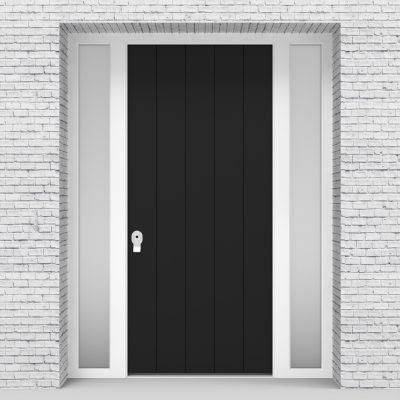 6.single Door With Two Side Panels 4 Vertical Lines Jet Black (ral9005)