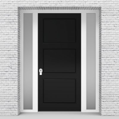 6.single Door With Two Side Panels Edwardian Jet Black (ral9005)