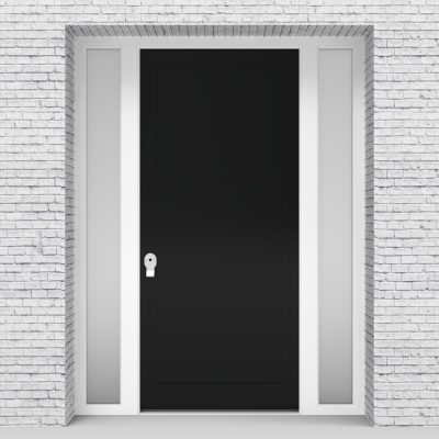 6.single Door With Two Side Panels One Panel Jet Black (ral9005)
