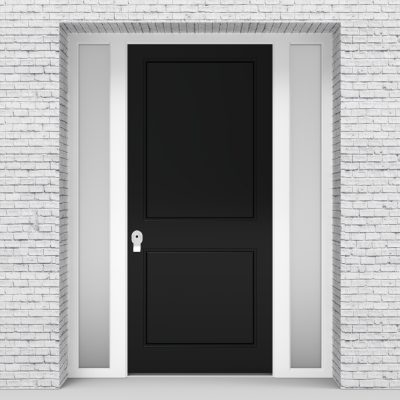 6.single Door With Two Side Panels Two Panel Jet Black (ral9005)