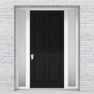 6.single Door With Two Side Panels Victorian 6 Panel Jet Black (ral9005)