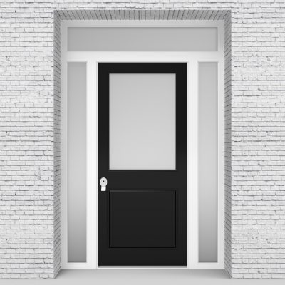 6.single Door With Two Side Panels And Transom 2 Panel With A Large Jet Black (ral9005)