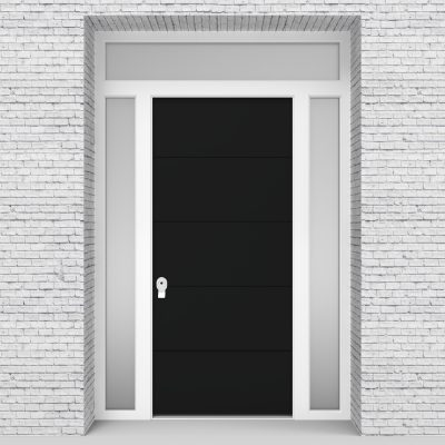 6.single Door With Two Side Panels And Transom 4 Horizontal Lines Jet Black (ral9005)