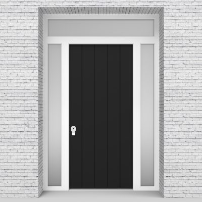 6.single Door With Two Side Panels And Transom 4 Vertical Lines Jet Black (ral9005)