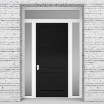 6.single Door With Two Side Panels And Transom Jet Black (ral9005)
