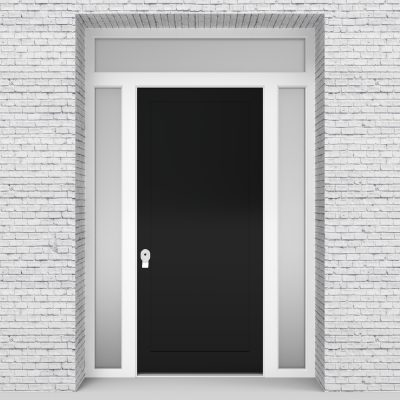 6.single Door With Two Side Panels And Transom One Panel Jet Black (ral9005)