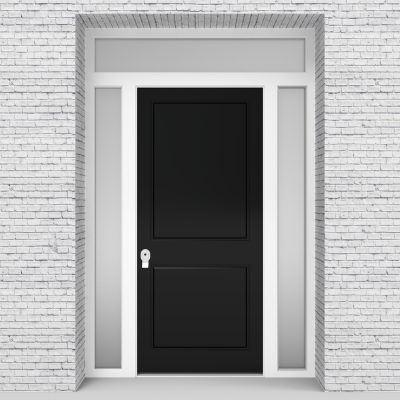 6.single Door With Two Side Panels And Transom Two Panel Jet Black (ral9005)