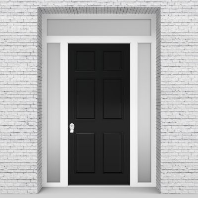 6.single Door With Two Side Panels And Transom Victorian 6 Panel Jet Black (ral9005)