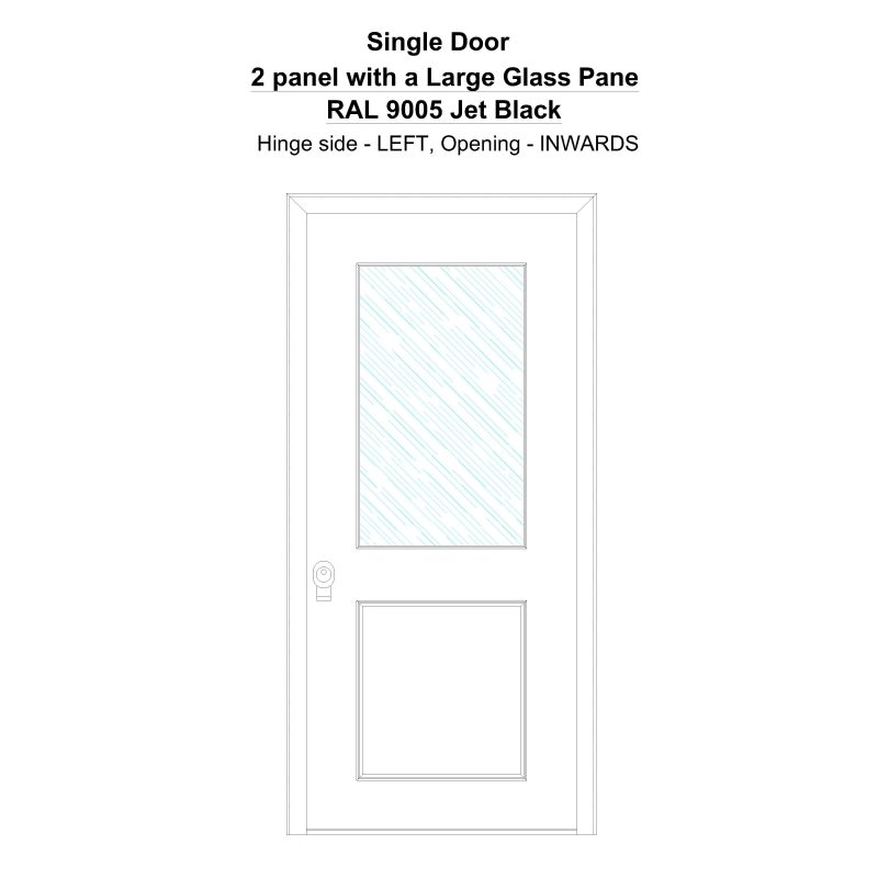 Sd 2 Panel With A Large Glass Pane Ral 9005 Jet Black Security Door