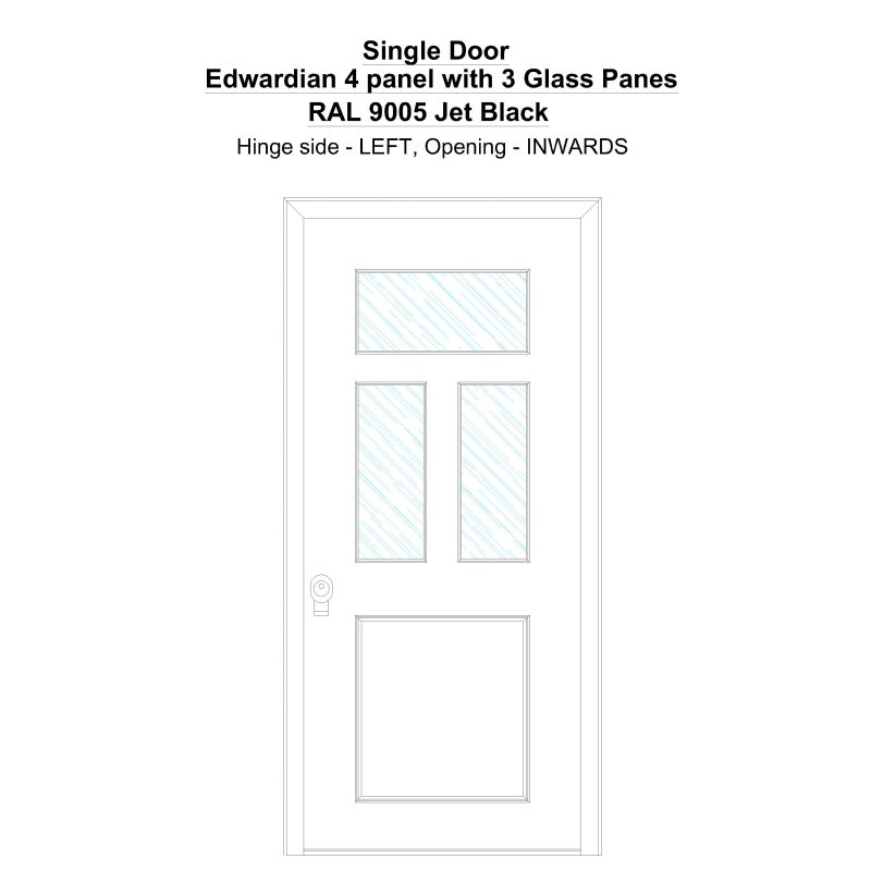 Sd Edwardian 4 Panel With 3 Glass Panes Ral 9005 Jet Black Security Door
