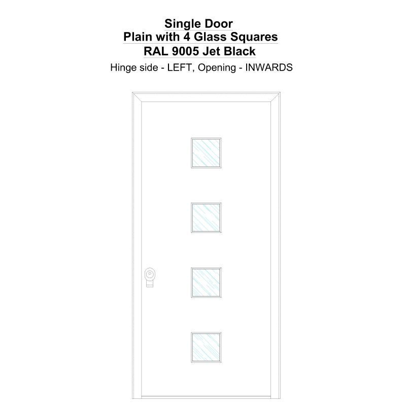 Sd Plain With 4 Glass Squares Ral 9005 Jet Black Security Door