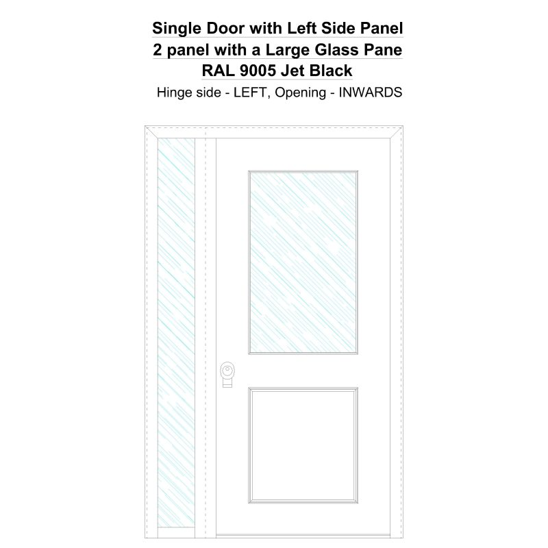 Sd1sp (left) 2 Panel With A Large Glass Pane Ral 9005 Jet Black Security Door