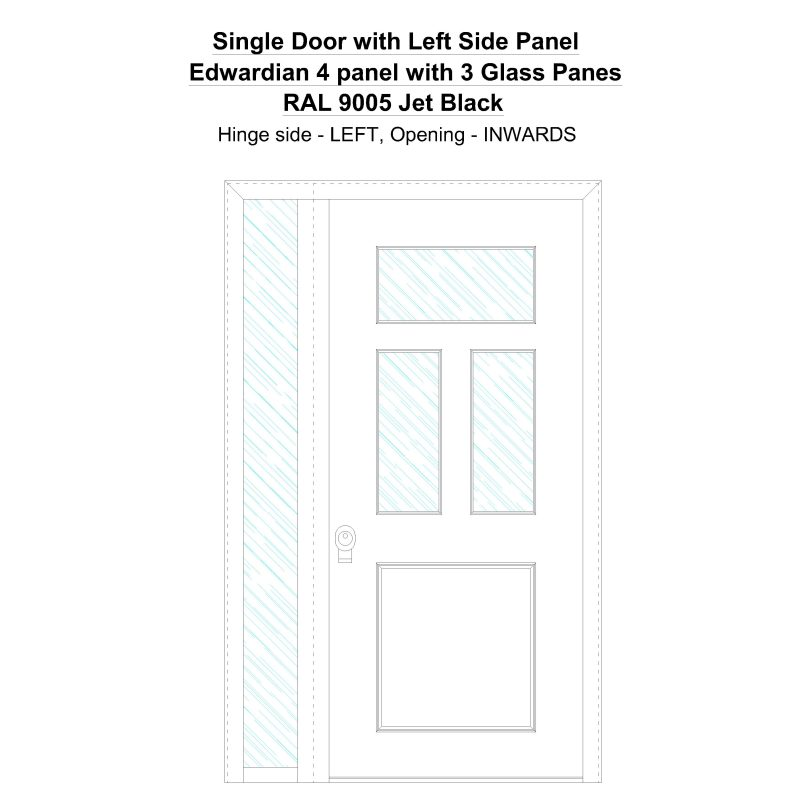 Sd1sp( Left) Edwardian 4 Panel With 3 Glass Panes Ral 9005 Jet Black Security Door