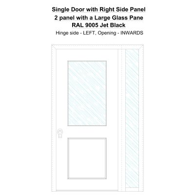 Sd1sp (right) 2 Panel With A Large Glass Pane Ral 9005 Jet Black Security Door