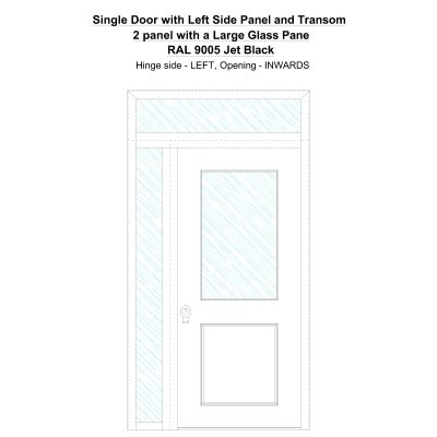 Sd1spt (left) 2 Panel With A Large Glass Pane Ral 9005 Jet Black Security Door