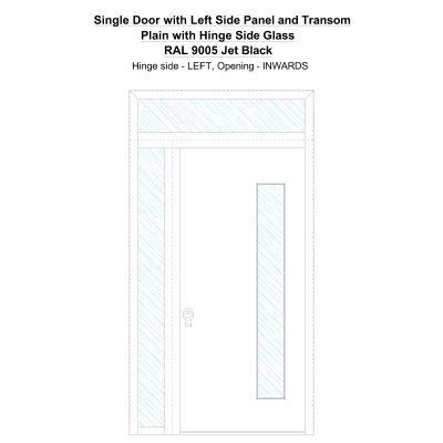 Sd1spt (left) Plain With Hinge Side Glass Ral 9005 Jet Black Security Door