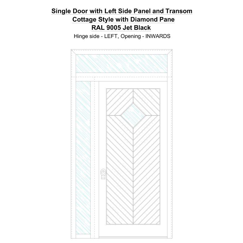 Sd1spt(left) Cottage Style With Diamond Pane Ral 9005 Jet Black Security Door
