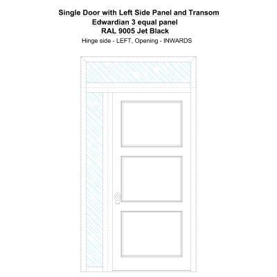 Sd1spt(left) Edwardian 3 Equal Panel Ral 9005 Jet Black Security Door