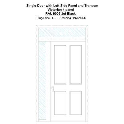 Sd1spt(left) Victorian 4 Panel Ral 9005 Jet Black Security Door