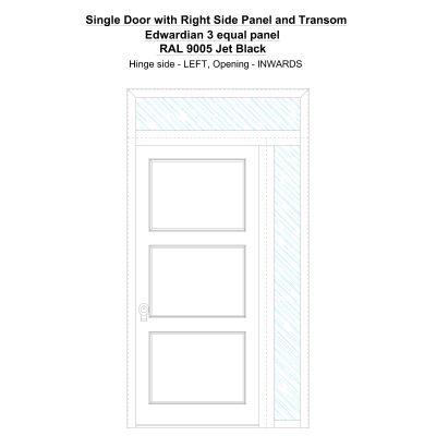 Sd1spt(right) Edwardian 3 Equal Panel Ral 9005 Jet Black Security Door