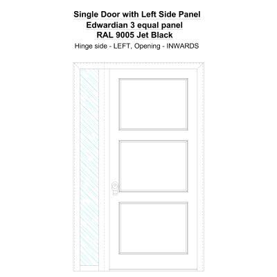Sd1sp(left) Edwardian 3 Equal Panel Ral 9005 Jet Black Security Door