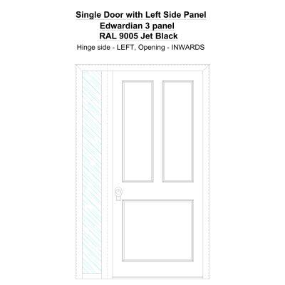 Sd1sp(left) Edwardian 3 Panel Ral 9005 Jet Black Security Door