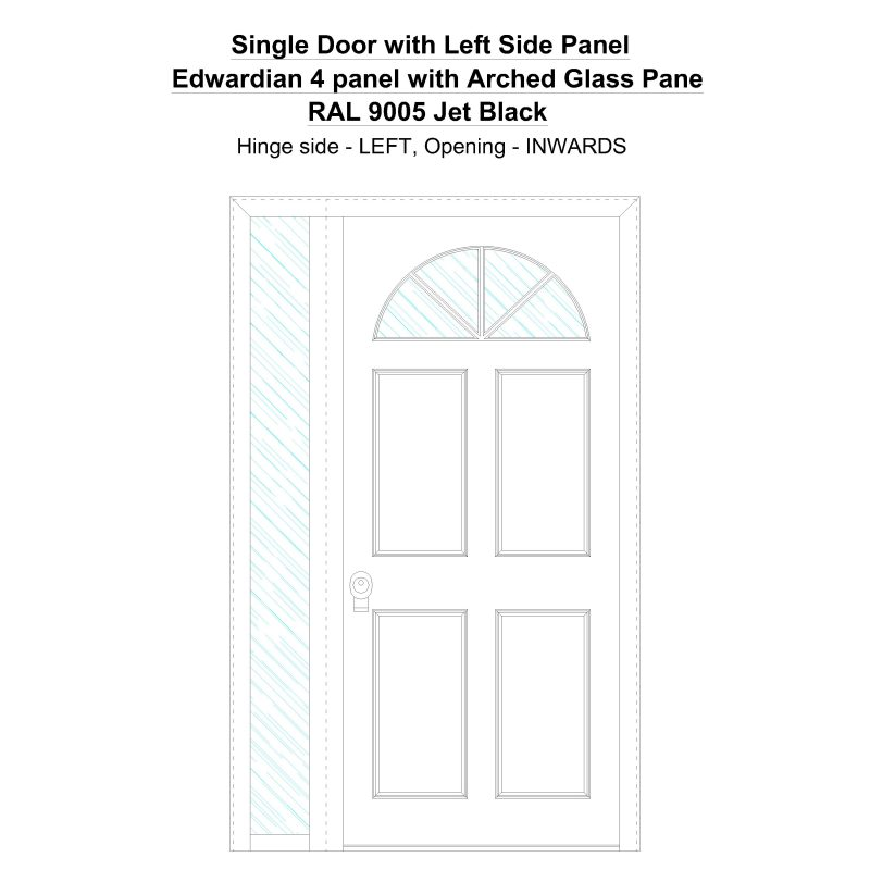 Sd1sp(left) Edwardian 4 Panel With Arched Glass Pane Ral 9005 Jet Black Security Door
