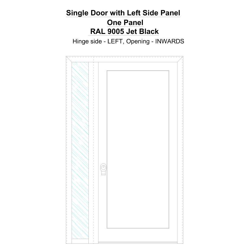 Sd1sp(left) One Panel Ral 9005 Jet Black Security Door