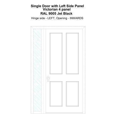 Sd1sp(left) Victorian 4 Panel Ral 9005 Jet Black Security Door