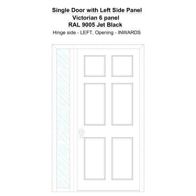 Sd1sp(left) Victorian 6 Panel Ral 9005 Jet Black Security Door