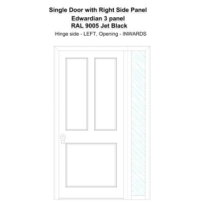 Sd1sp(right) Edwardian 3 Panel Ral 9005 Jet Black Security Door