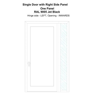 Sd1sp(right) One Panel Ral 9005 Jet Black Security Door