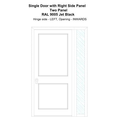 Sd1sp(right) Two Panel Ral 9005 Jet Black Security Door