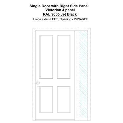 Sd1sp(right) Victorian 4 Panel Ral 9005 Jet Black Security Door