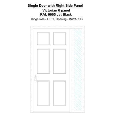 Sd1sp(right) Victorian 6 Panel Ral 9005 Jet Black Security Door
