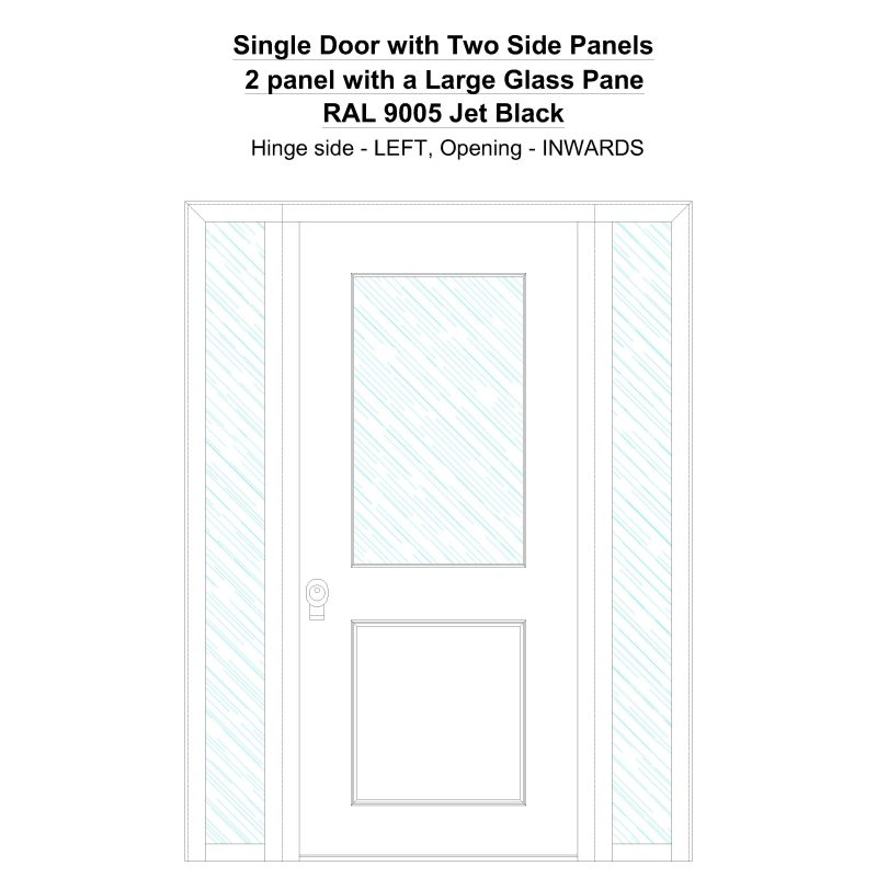 Sd2sp 2 Panel With A Large Glass Pane Ral 9005 Jet Black Security Door