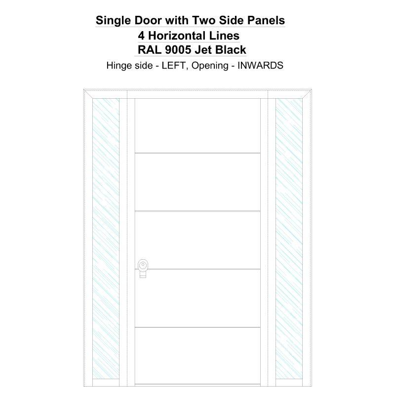 Sd2sp 4 Horizontal Lines Ral 9005 Jet Black Security Door
