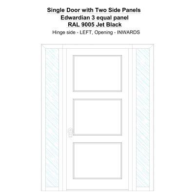 Sd2sp Edwardian 3 Equal Panel Ral 9005 Jet Black Security Door