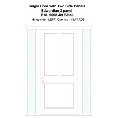 Sd2sp Edwardian 3 Panel Ral 9005 Jet Black Security Door