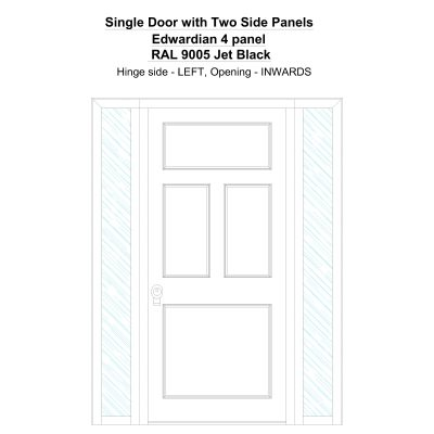Sd2sp Edwardian 4 Panel Ral 9005 Jet Black Security Door
