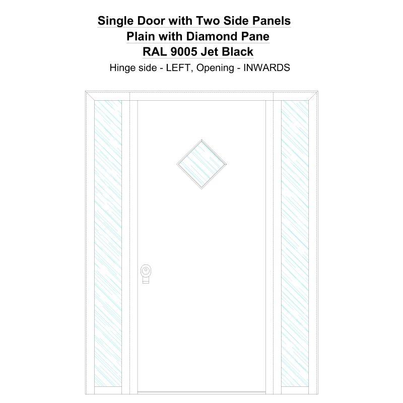 Sd2sp Plain With Diamond Pane Ral 9005 Jet Black Security Door