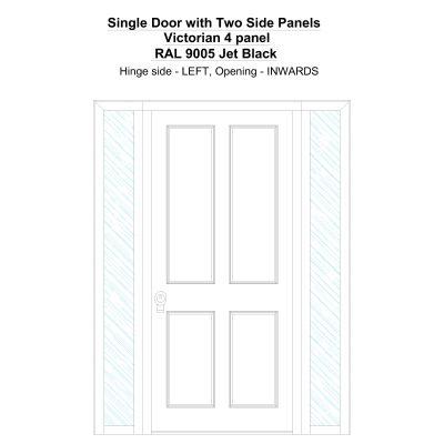 Sd2sp Victorian 4 Panel Ral 9005 Jet Black Security Door