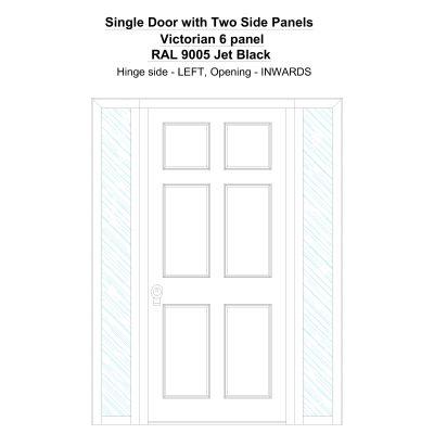 Sd2sp Victorian 6 Panel Ral 9005 Jet Black Security Door