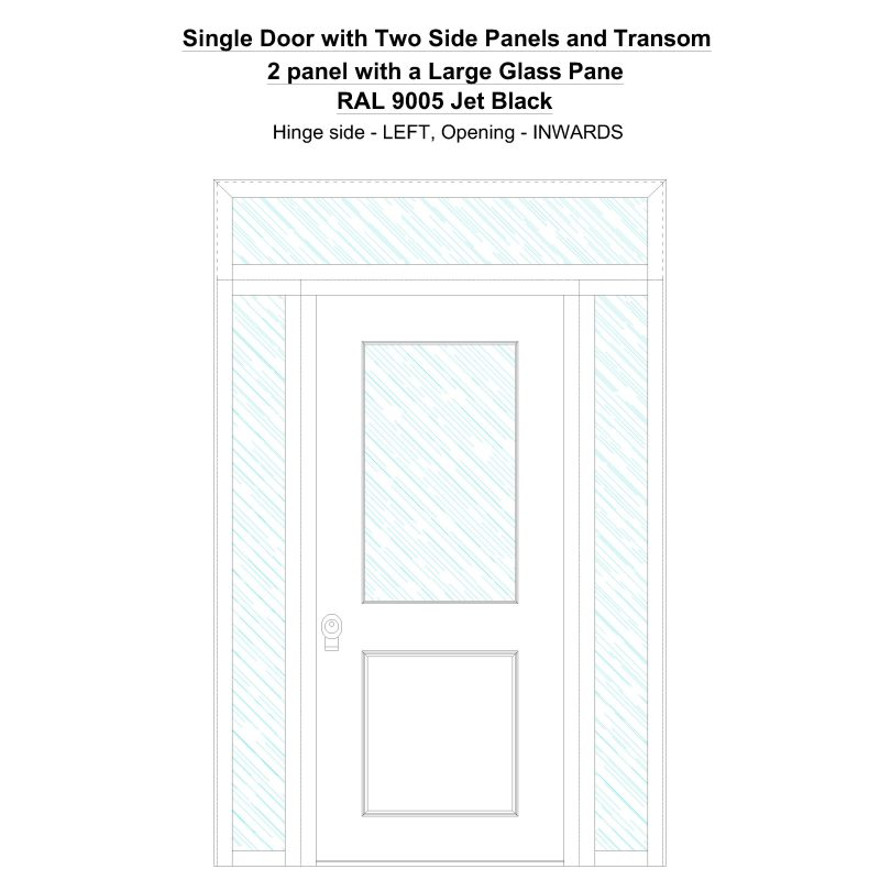 Sd2spt 2 Panel With A Large Glass Pane Ral 9005 Jet Black Security Door