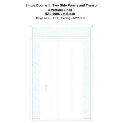 Sd2spt 4 Vertical Lines Ral 9005 Jet Black Security Door
