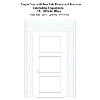Sd2spt Edwardian 3 Equal Panel Ral 9005 Jet Black Security Door