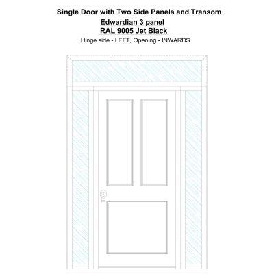 Sd2spt Edwardian 3 Panel Ral 9005 Jet Black Security Door