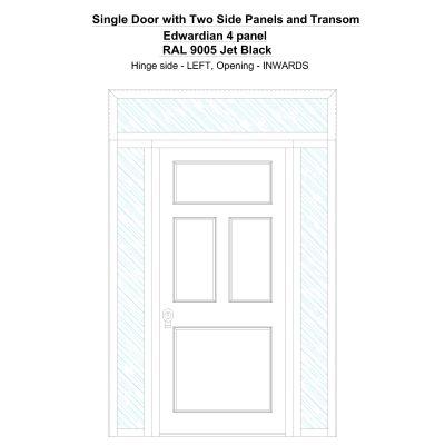 Sd2spt Edwardian 4 Panel Ral 9005 Jet Black Security Door