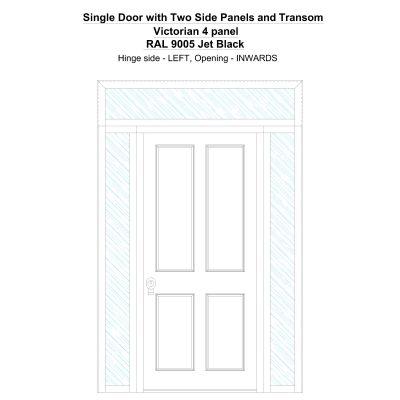 Sd2spt Victorian 4 Panel Ral 9005 Jet Black Security Door